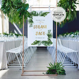 Leilani Tropical Leaf & Gold Wedding Welcome Sign Printable Editable Template