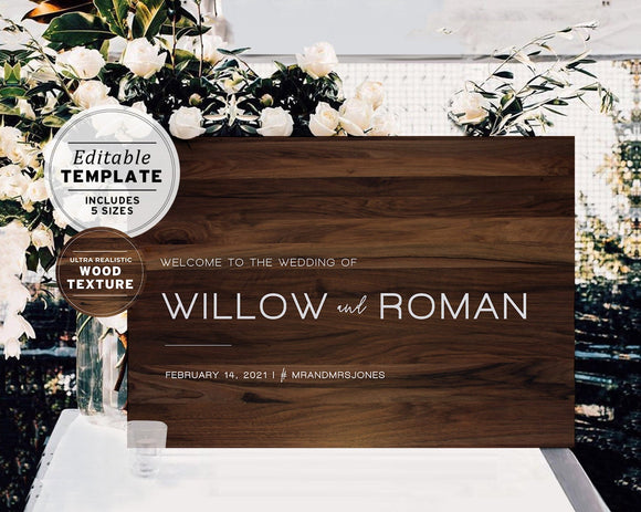 Dark Wood Look Printable Wedding Welcome Sign Editable Template