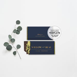 Classic Navy and Gold Chocolate Wrapper Wedding Favor Printable Editable Template