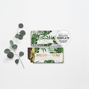 Leilani Leafy Tropical Gold Chocolate Wrapper Printable Editable Template