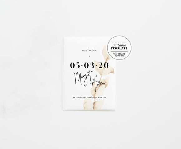 Nue Leaf Minimalist Watercolor Save the Date Printable Editable Template