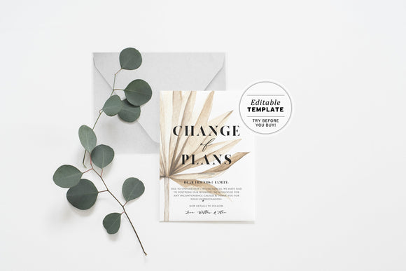 Nue Palm Minimalist Wedding Change of Date Card Printable Editable Template