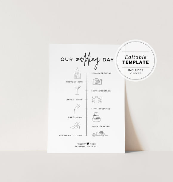 Kiki Minimalist Wedding Itinerary Timeline Sign Printable Editable Template
