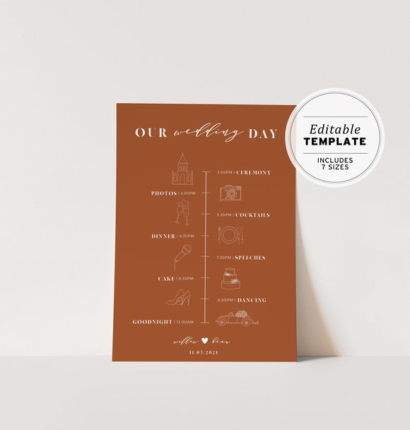 Burnt Orange Minimalist Wedding Itinerary Sign Timeline Printable Editable Template