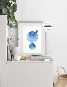 Azure Earth Minimalist Abstract Printable Art Instant Download