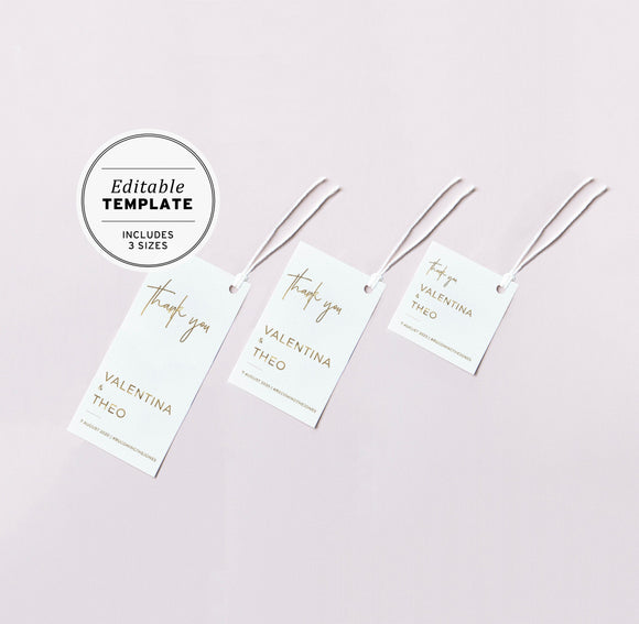 Juliette Gold Minimalist Wedding Favor Swing Tags Editable Printable Template