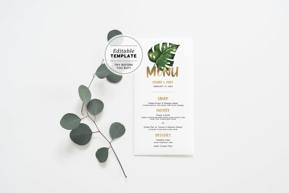 Leilani Tropical Watercolor Leaf Wedding Menu Printable Editable Template