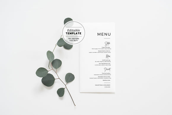 Kiki Minimalist Wedding Menu Printable Editable Template