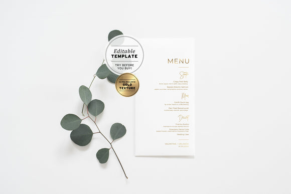 Kiki Minimalist Gold Wedding Menu Printable Editable Template