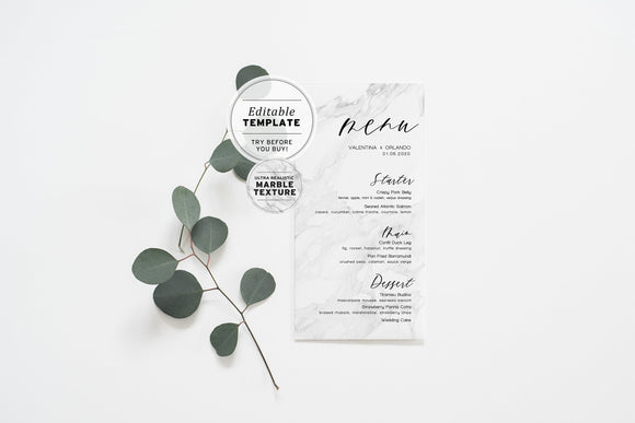 Marble Look Wedding Menu Printable Editable Template Download