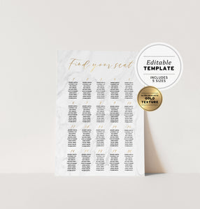 Marble Textured & Gold Wedding Seating Chart Printable Template