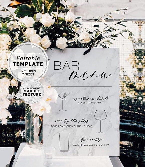 Marble Look His & Hers Wedding Drink Menu Printable Editable Template