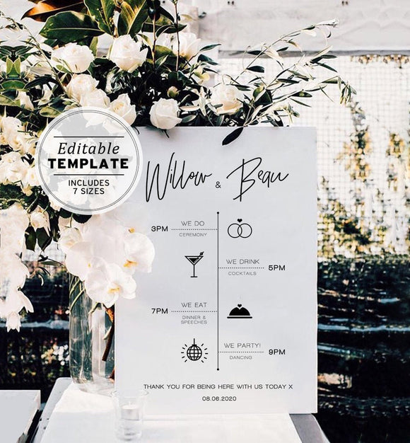 Juliette Minimalist Wedding Timeline Sign Printable Editable Template