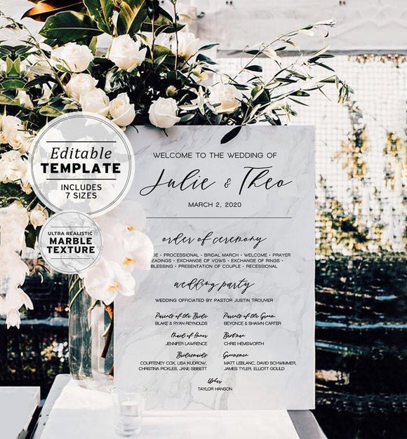 Classic Marble Wedding Order of Ceremony Sign Printable Editable Template