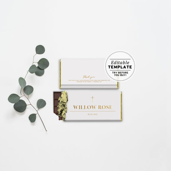 Classic White and Gold Chocolate Wrapper Printable Editable Template