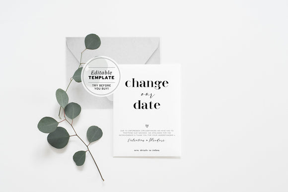 Mr White Minimalist Wedding Change of Date Card Printable Editable Template