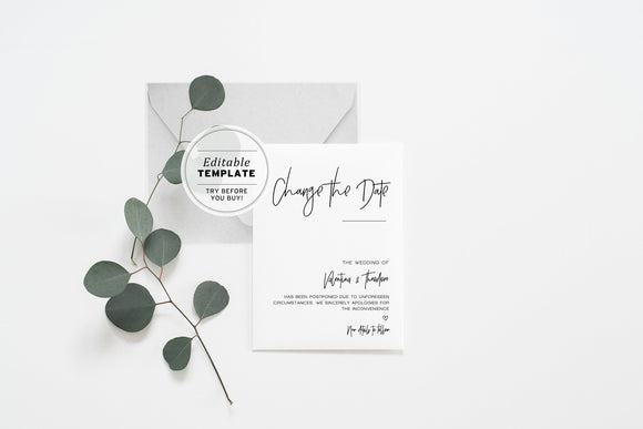 Juliette Minimalist Wedding Change of Date Card Printable Editable Template