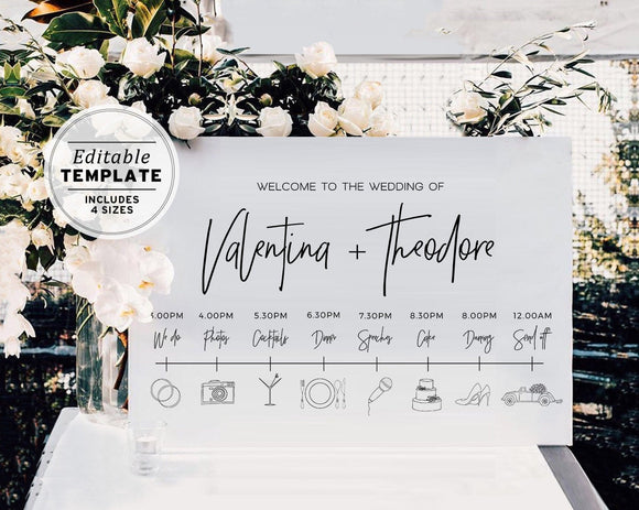 Juliette Minimalist Wedding Timeline & Itinerary Sign Printable Editable Template