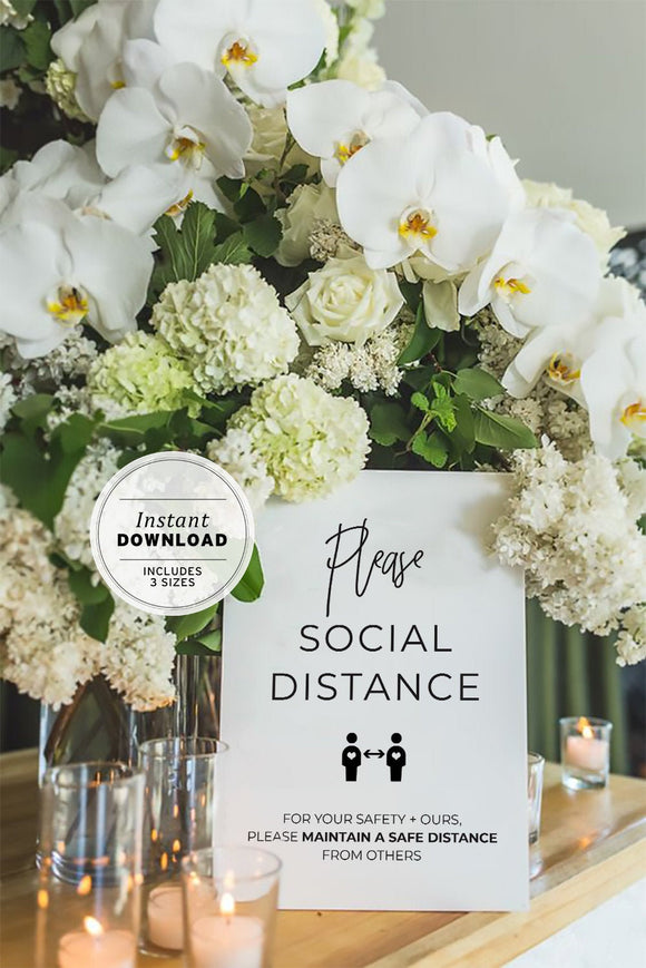 Kiki Minimalist 'Please Social Distance' COVID Safe Wedding Sign Instant Download