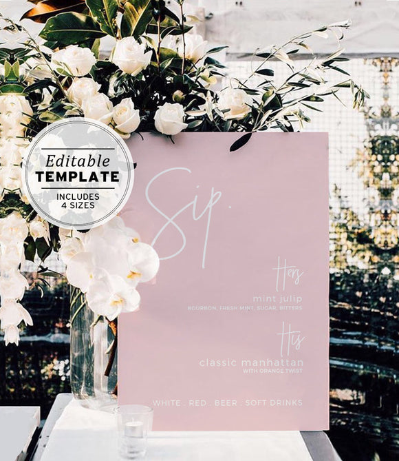 Blush Minimalist 'Sip' Wedding Bar Menu Editable Printable Template