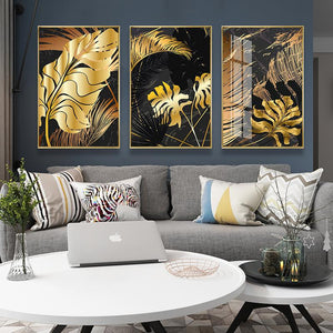 Newest style-Nordic Decoration Golden Leaf Canvas Painting
