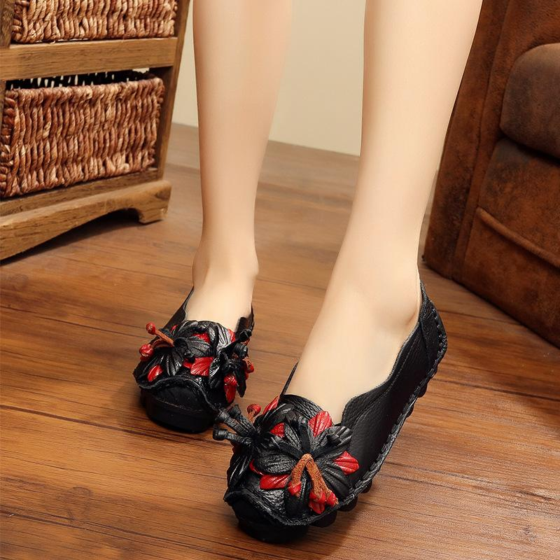 馃槏馃槏Leather single shoes for ladies with comfortable soft soles vintage handmade flower shoes for ladies