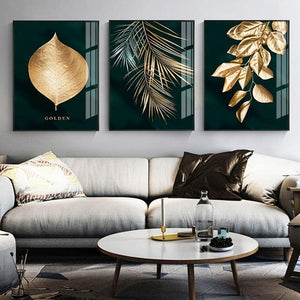 Nordic Decoration Golden Leaf Canvas Painting