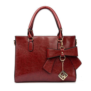 French Bowknot leather lady bag - onekfashion