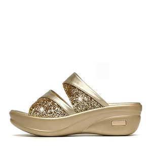 Korean rhinestone slippers non-slip thick Sole wedges shoes