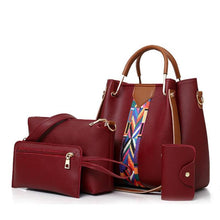 Load image into Gallery viewer, Ribbons Women Leather Shoulder Crossbody Large Capacity Bag锛4 Pcs/Set 锛 - onekfashion
