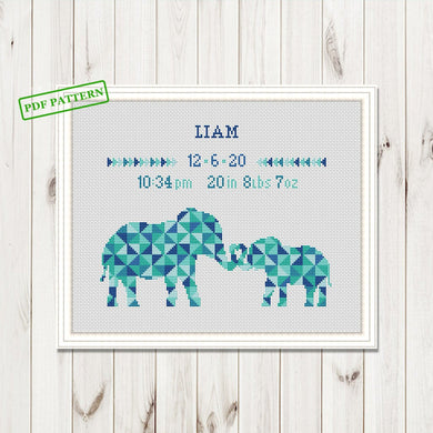 Dinosaurs birth announcement palm tree animal Cute New baby Girl boy Personalized self to do Cross Stitch Pattern Digital Format - PDF