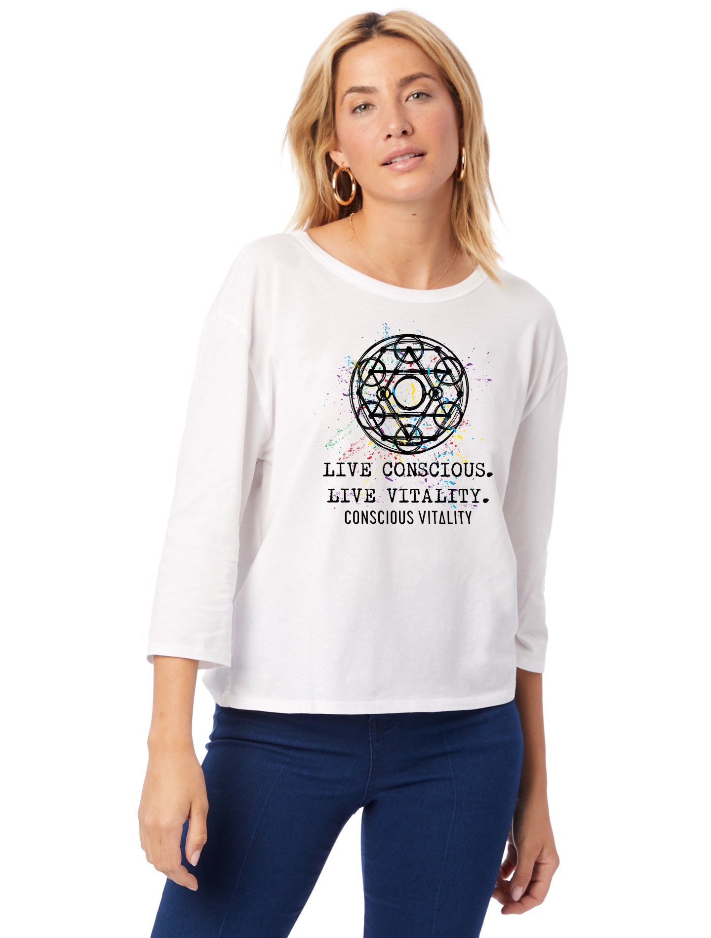 Women's Yantra - B&W - 100% Organic Cotton