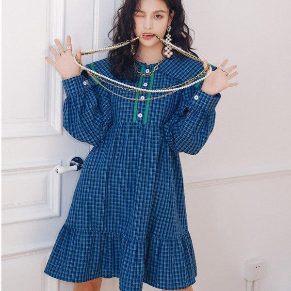 Plaid Cottagecore Dress - Sayuri