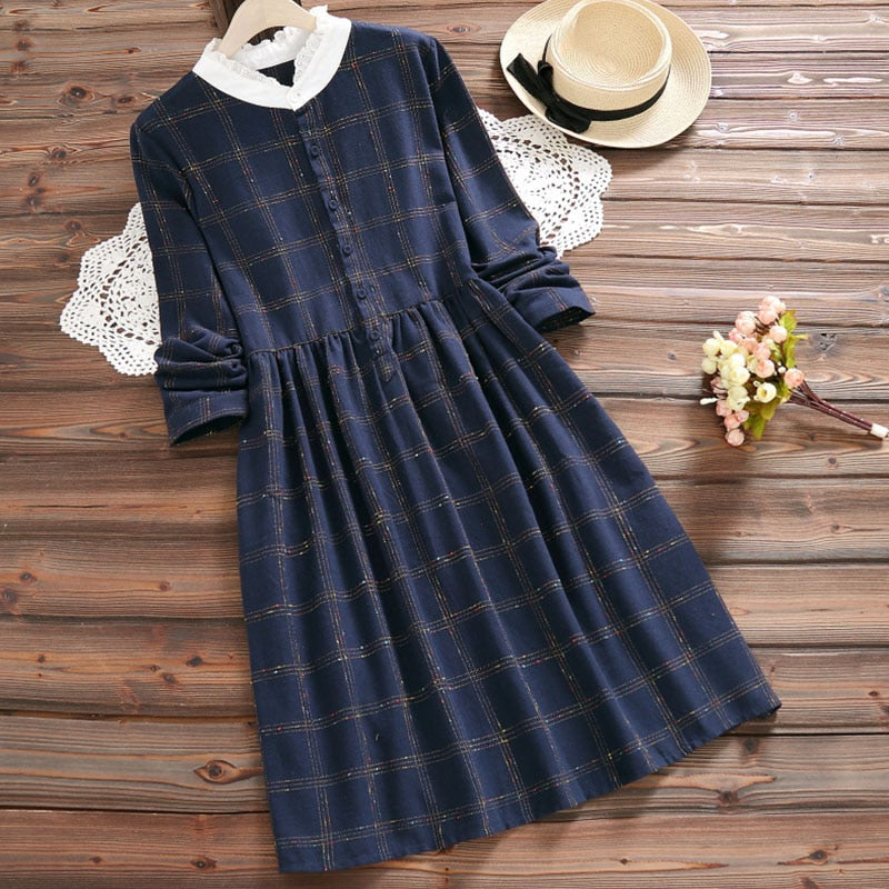 Cotton Plaid Cottagecore Dress - Neima