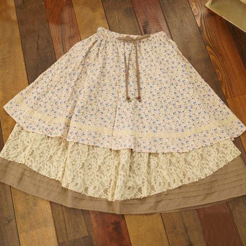 Beige Rural Cottagecore Skirt - Elena