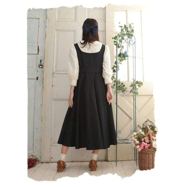 Black Cottagecore Dress - Elena