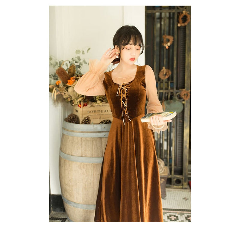 Brown Cottagecore Dress - Wakamatsu