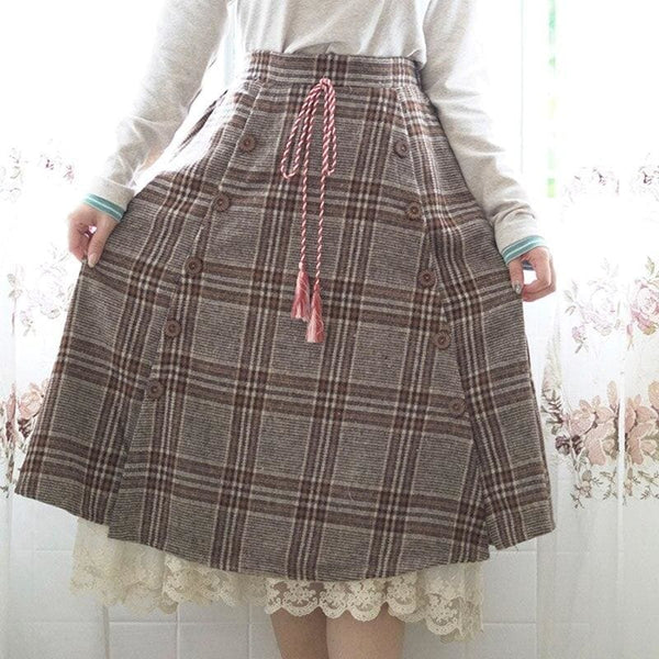 Brown Cottagecore Skirt - Heather