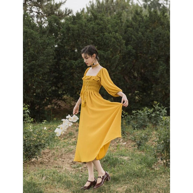 Cottagecore Natural Dress - Nina