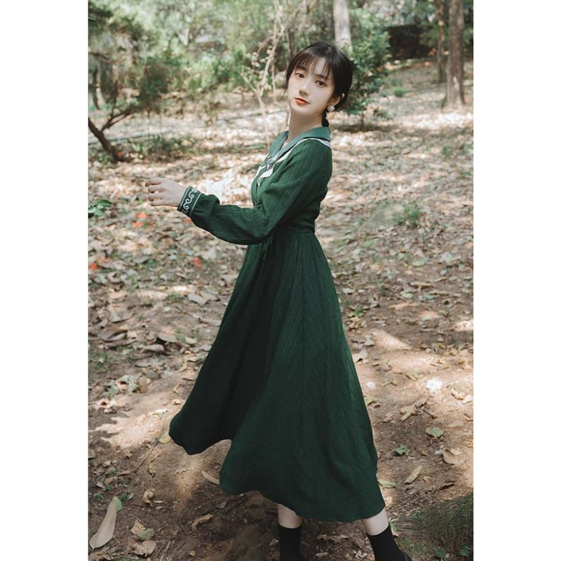 Green Cottagecore Dress - Emi