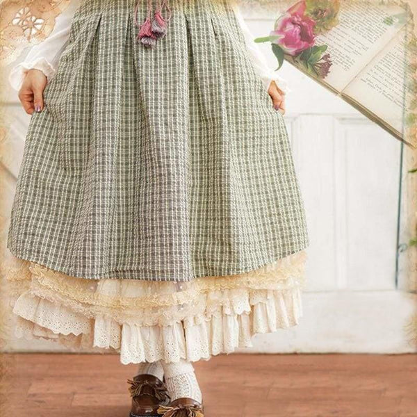 Green Cottagecore Skirt - Amy
