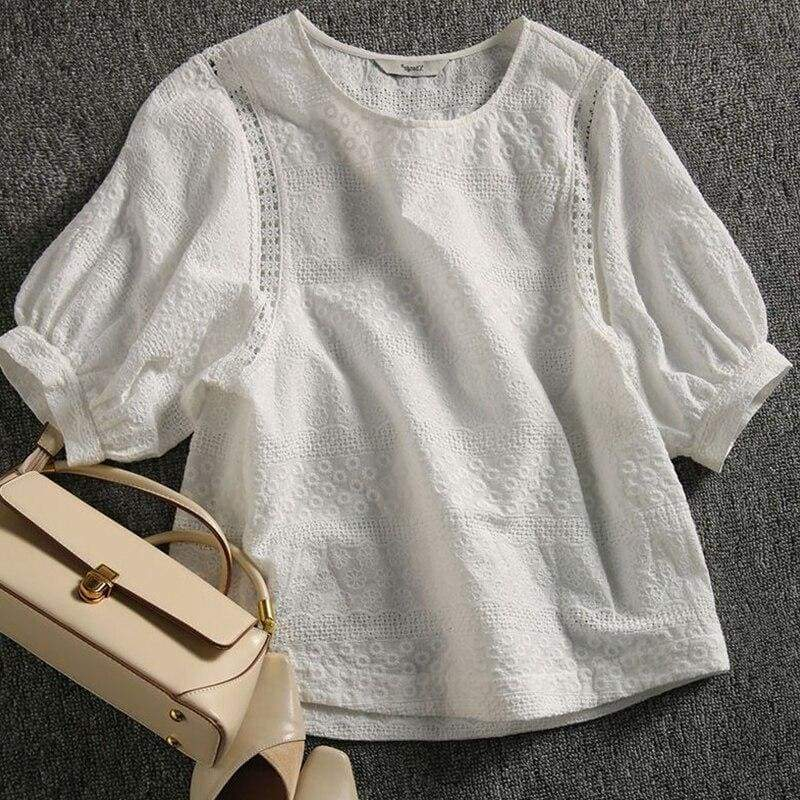 White Cottagecore Shirt - Alexandria