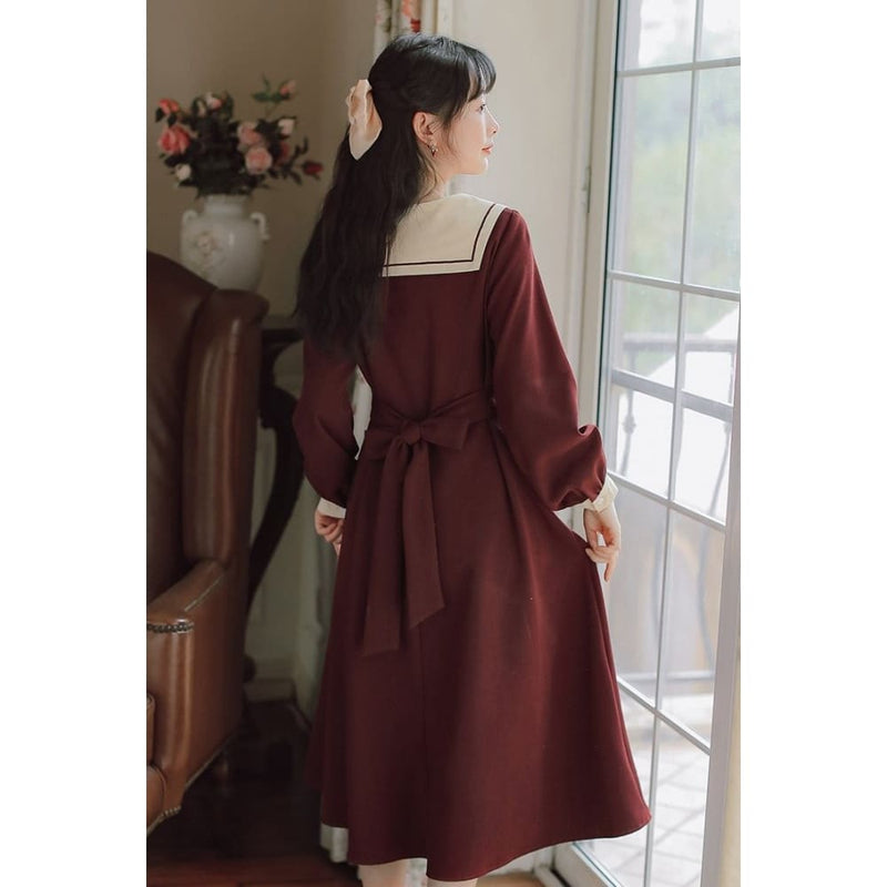 Wine Red Cottagecore Dress - Watanabe