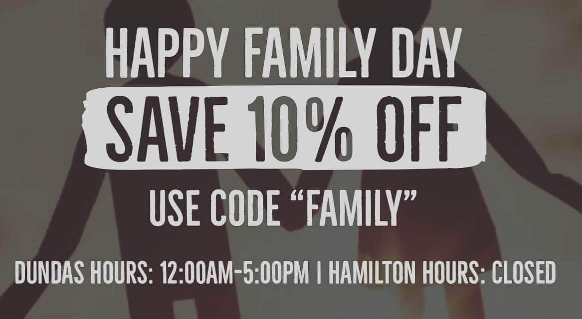 Family Day Sale and Hours