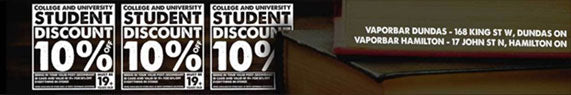 VAPOR BAR COLLEGE / UNIVERSITY DISCOUNT
