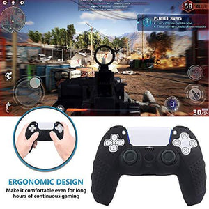 PS5 Controller Grip Cover, Anti-Slip Silicone Skin Protective Cover Case for Playstation 5 DualSense Wireless Controller with 6 Thumb Grip Caps