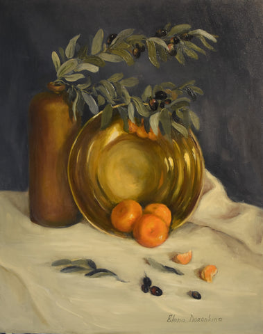 Copper bowl and mandarins