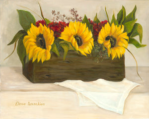 Box with sunflowers