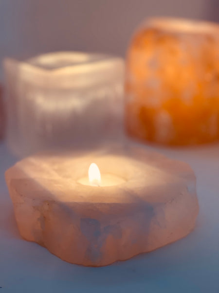 Rose Quartz Flat Slab  • Tea Light Holder
