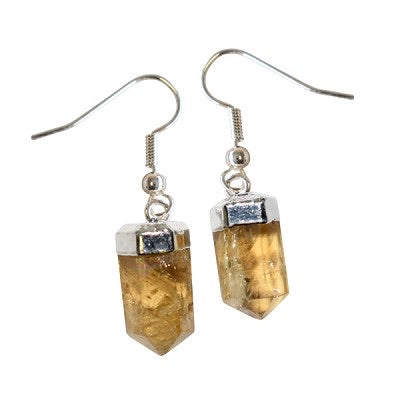 Citrine Faceted Point Earrings • Shepherds Hook